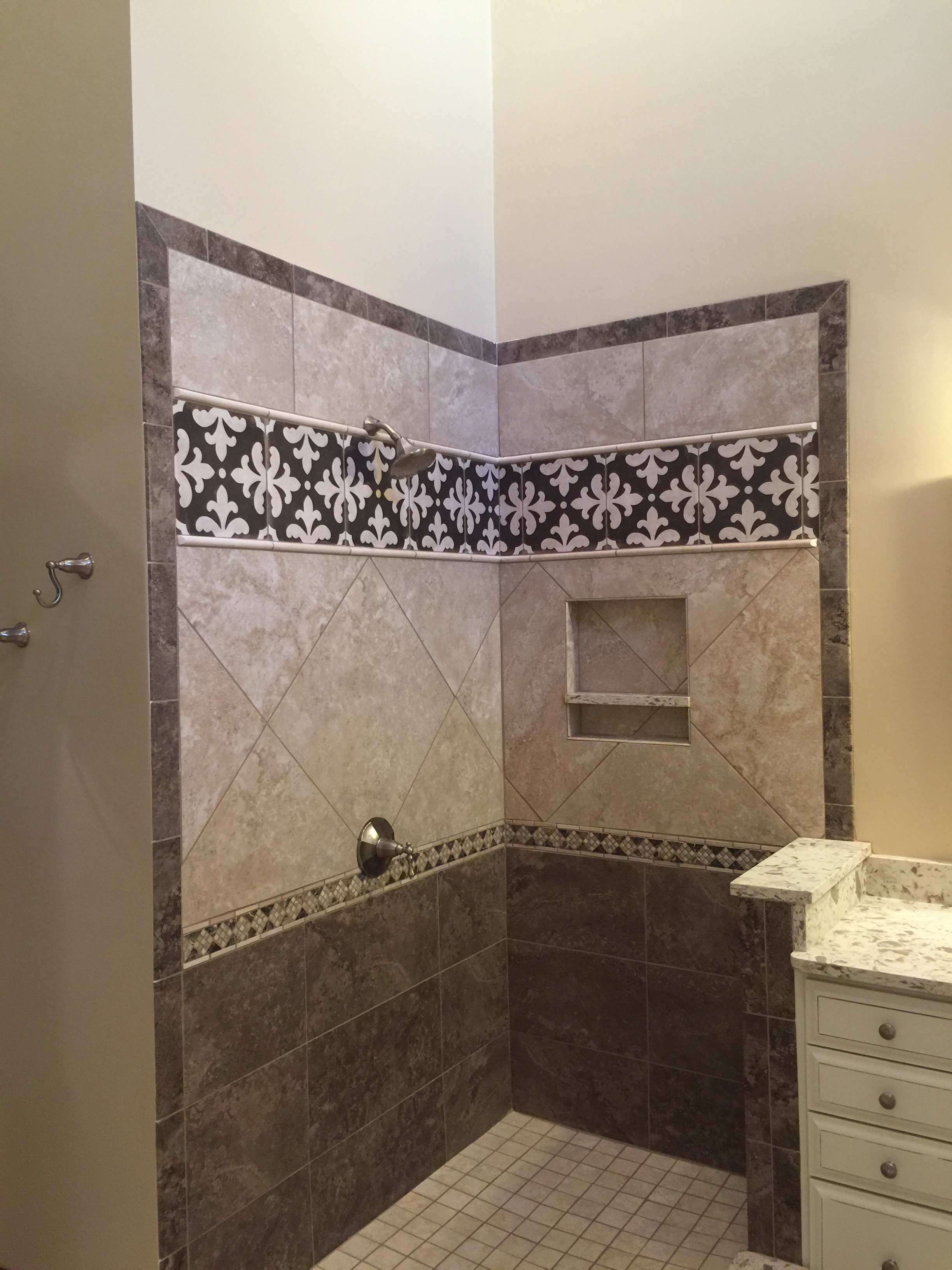 Bathroom Tile - Shower Stall  | Remodeling | Sunset Builders & Maintenance